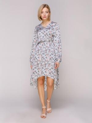 Сукня блакитна в квітковий принт | 4951505