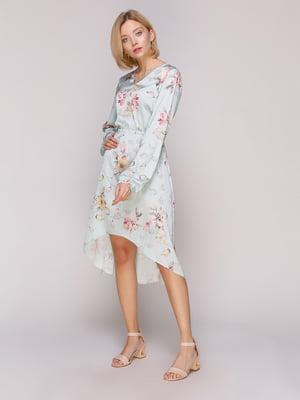 Сукня бірюзова в квітковий принт | 4951507