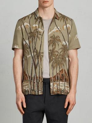 Сорочка кольору хакі з принтом | 5010813