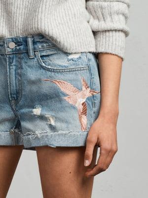 Шорты голубые с вышивкой джинсовые | 5010897