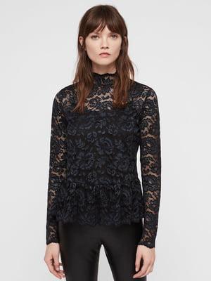 Блуза темно-синяя кружевная | 5010989