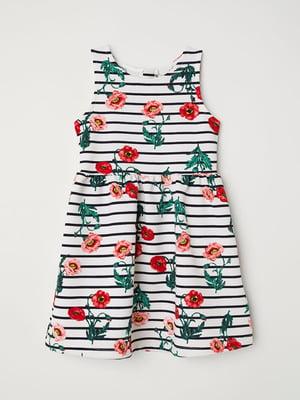 Платье в полоску и цветочный принт | 5011407