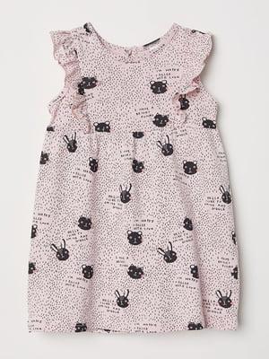 Платье розовое с принтом | 5011667