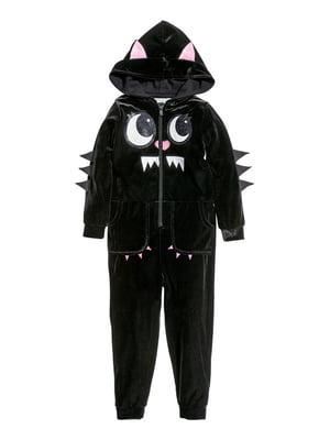 Комбинезон черный с принтом | 5011941