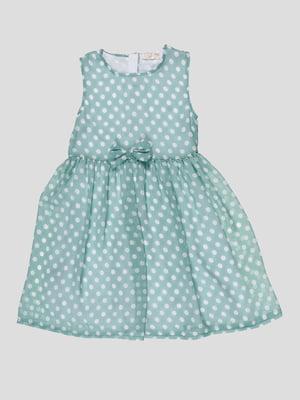 Платье зеленое в горошек | 5010591
