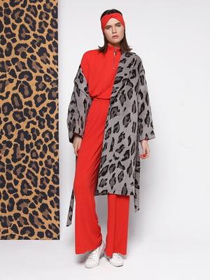 Пальто сіре з принтом | 5014549