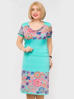Сукня бірюзова з квітковим принтом | 5027119