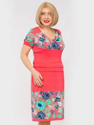 Сукня рожева з квітковим принтом | 5027120