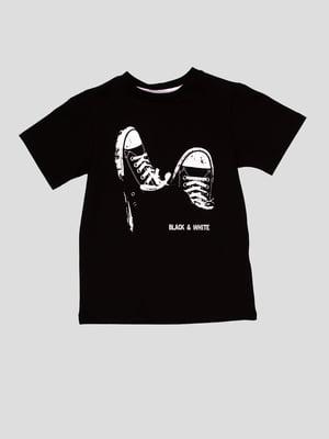 Футболка чорна з принтом | 5026038
