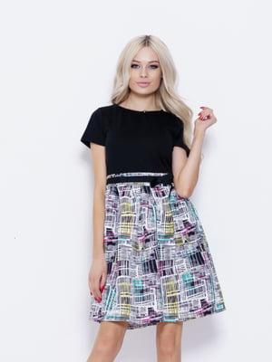 Платье черное с принтом | 5029803