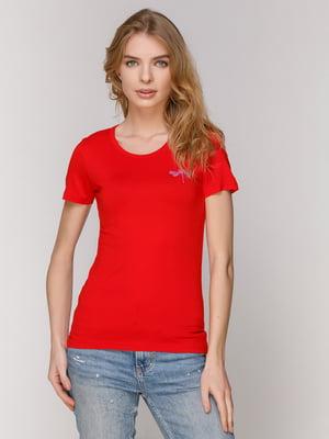 Футболка червона з вишивкою | 4921404