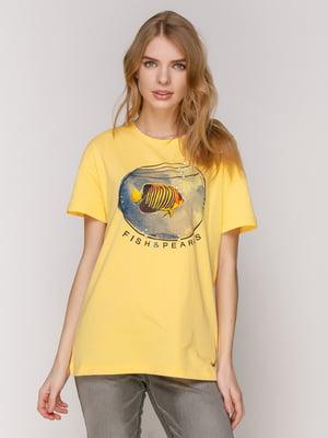Футболка жовта з принтом | 4921422
