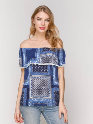 Блуза синяя в принт | 3045057