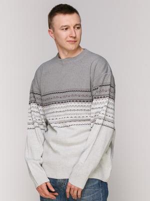 Джемпер серый с узором | 4906936