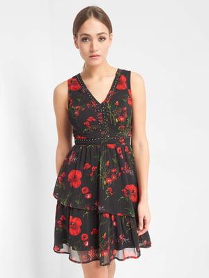 Платье черное с цветочным принтом | 5039323