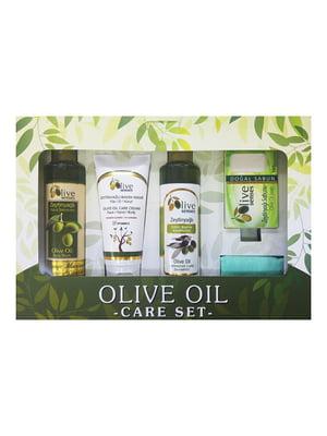 Набір для тіла Olive Senses: шампунь, гель для душу, крем для обличчя, рук і тіла, мило | 4986481