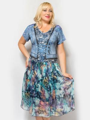 Платье голубое в принт | 5044228