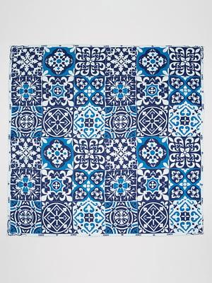 Хустка синя в принт | 5044456