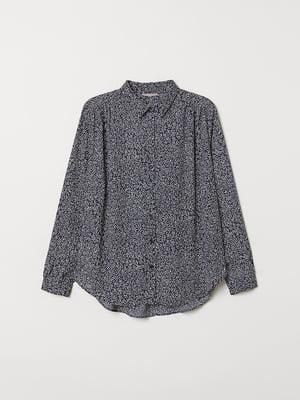 Рубашка темно-синяя в принт | 5046371
