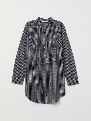 Блуза темно-синя в принт | 5046888