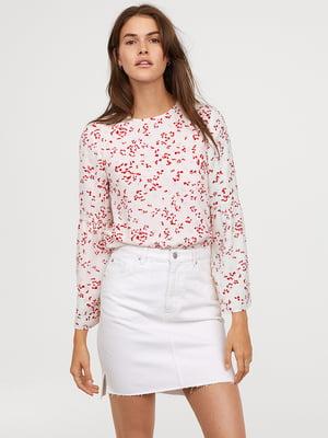 Блуза белая в принт | 5046942