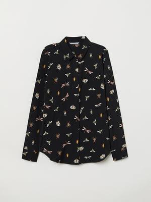 Рубашка черная в принт | 5046965