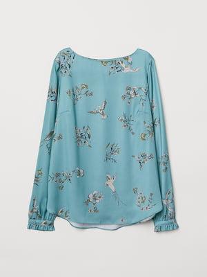 Блуза бірюзова в принт | 5046995