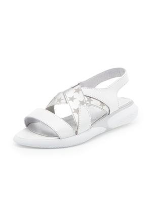 Сандалии бело-серебристые с принтом | 5027243