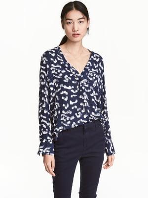 Блуза синяя в принт | 5045186
