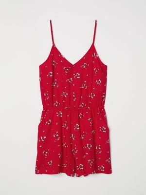 Комбинезон красный в цветочный принт | 5045251