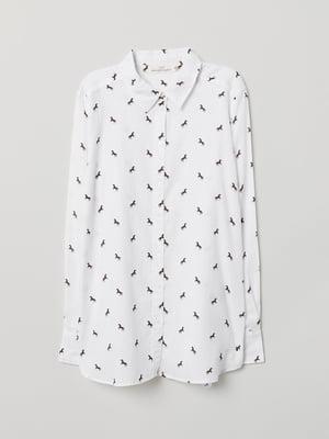 Рубашка белая в принт | 5045921