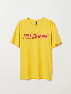 Футболка жовта з принтом | 5045985