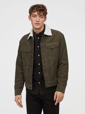 Куртка зелена вельветова | 5046141