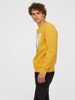 Світшот жовтий з принтом | 5046182