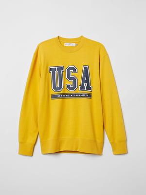 Світшот жовтий з принтом | 5046253