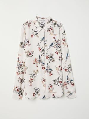 Рубашка молочного цвета в принт | 5046966