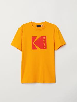 Футболка жовта з принтом | 5046997