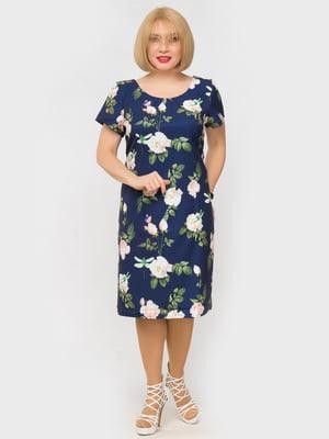 Сукня синя в квітковий принт | 5057253