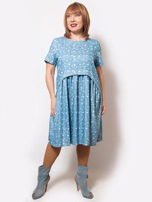 Платье голубого цвета с принтом | 5057265
