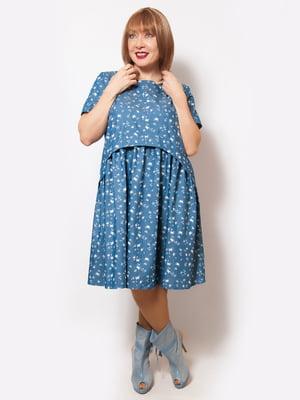 Сукня темно-блакитна в принт | 5057268