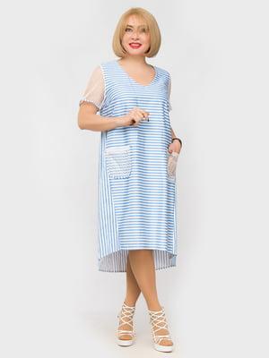 Платье голубое в полоску | 5057297