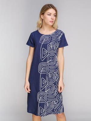 Сукня синя з принтом | 5038989