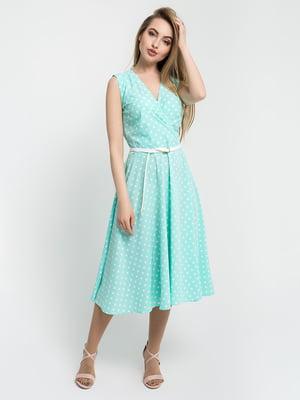 Платье мятного цвета в горошек | 5059861