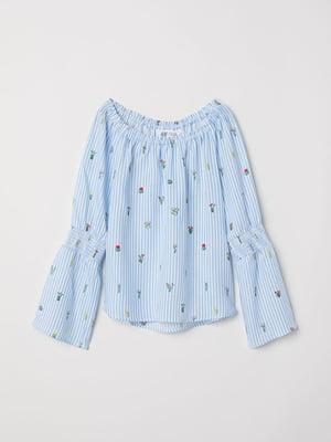 Блуза голубая в принт | 5012166