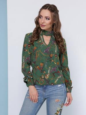 Блуза зелена в принт | 5063031