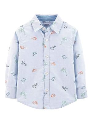Рубашка в полоску с принтом | 5066630