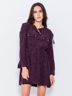 Сукня фіолетова в принт | 4950818