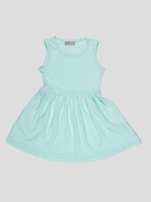 Сукня м'ятного кольору в принт | 5057509
