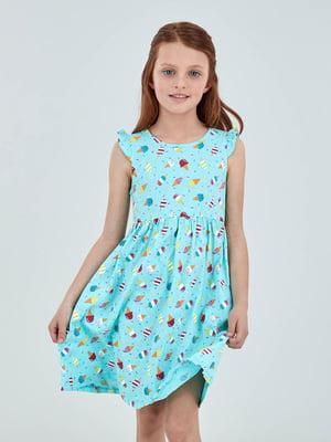 Сукня блакитна в принт | 5058120