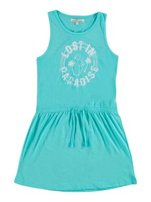 Сукня бірюзова з принтом | 5058147